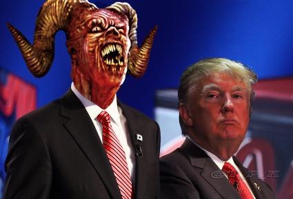 Satan with president Trump